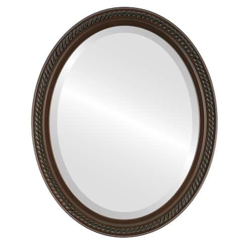 Santa Fe Framed Oval Mirror in Walnut