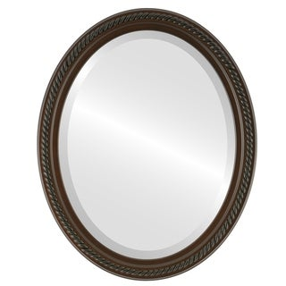 Santa Fe Framed Oval Mirror in Walnut