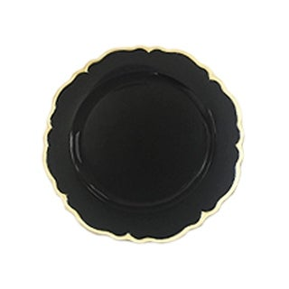 elle black/gold scallop set/4 charger plates