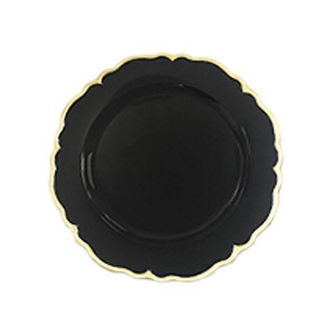 elle black/gold scallop set/4 charger plates