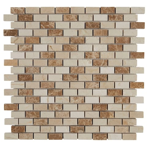 Decorative Stone Accent 1/2x1-inch Brick Joint Mosaic Tile in Adda Blend - 12x12