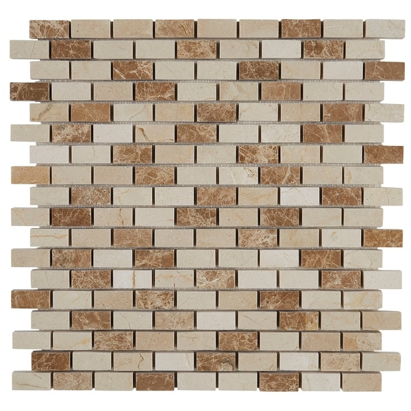 Decorative Stone Accent 1/2x1-inch Brick Joint Mosaic Tile in Adda Blend - 12x12. Opens flyout.