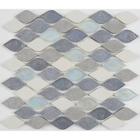 Decorative Accent Rain Drop Stone and Glass Mosaic Tile in Gris et Blanc - 12x13