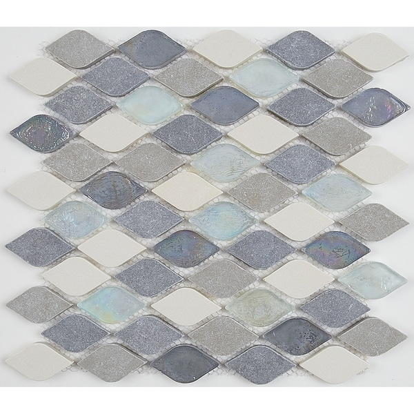 Decorative Accent Rain Drop Stone and Glass Mosaic Tile in Gris et Blanc - 12x13. Opens flyout.
