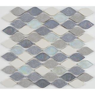 Decorative Accent Rain Drop Stone And Gl Mosaic Tile In Gris Et Blanc 12x13