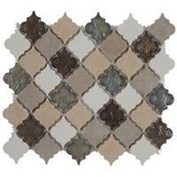 Decorative Stone Accent 2-inch Baroque Mosaic Tile in Blanc et Beige - 12.75x12