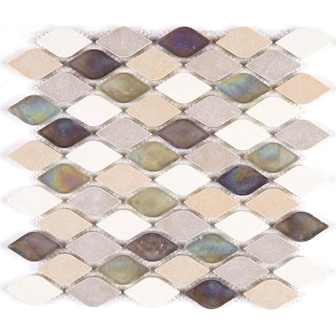 Decorative Stone Accent Rain Drop Stone and Glass Mosaic Tile in Blanc et Beige - 12x13