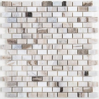 Decorative Stone Accent 5/8x1-inch Brick Joint Mosaic Tile in Panaro Blend - 12.75x12