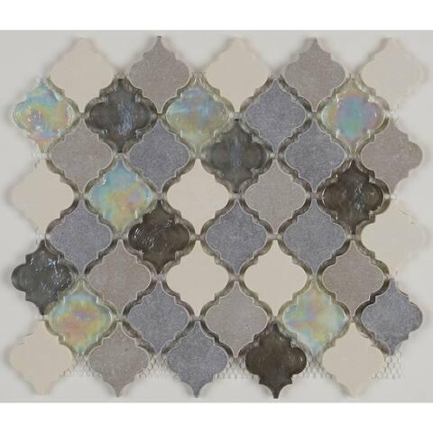 Decorative Stone Accent 2-inch Baroque Mosaic Tile in Gris et Blanc - 12.75x12