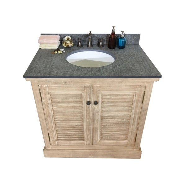 Shop 36-inch Rustic Style Single Sink Bathroom Vanity with ...
