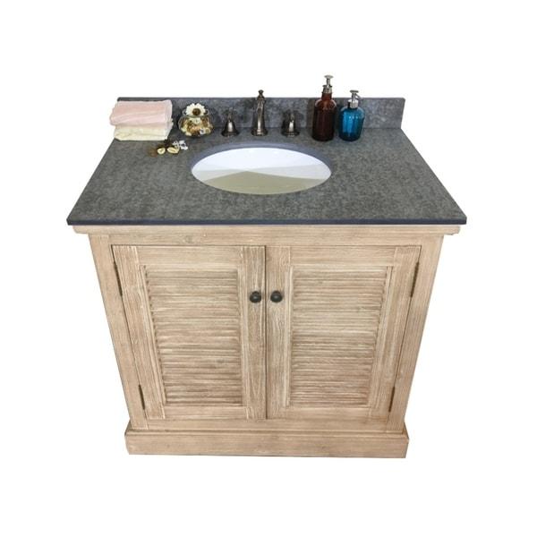 Shop 36-inch Rustic Style Single Sink Bathroom Vanity with ...