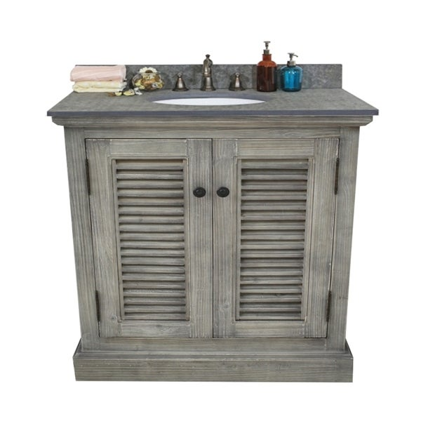 36-inch Rustic Style Single Sink Bathroom Vanity in Grey-Driftwood Finish with Polished Textured Surface Granite Top-No Faucet
