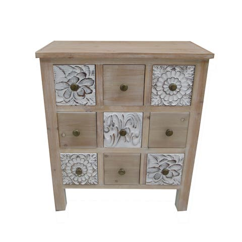 "27.36""H White Wooden Cabinet in 9 Drawers"