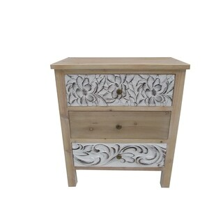 """27.36""""H White Wooden Cabinet in 3 Drawers"""