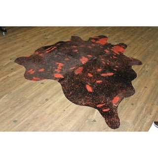 Vibrant Red 5 Feet by 8 Feet Cow Hide Luxurious Rug - 5'x8'-6'x8'