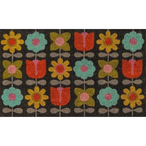"Novogratz by Momeni Flower Child Coir Doormat 1'6"" X 2'6"""