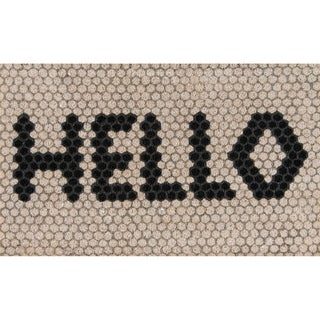 "Novogratz by Momeni Hello Hex Tile Ivory Coir Doormat 1'6"" X 2'6"""