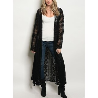 JED Women's Lace Long Sleeve Maxi Kimono with Waist Tie (2 options available)