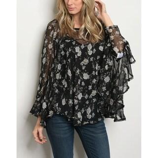JED Women's Black Floral Chiffon Blouse