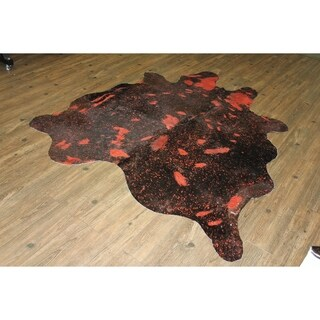 5 Feet by 8 Feet Cow Hide Luxurious Rug Vibrant Red - 5'x8'-6'x8'