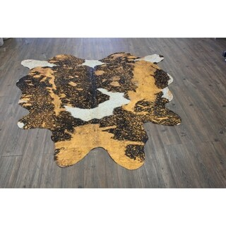 5 Feet by 8 Feet Luxurious Rust Orange CowHide - 5'x8'-6'x8'