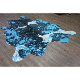 Multi Blue Color Home Indoor Leather Cowhide - 5'x8'-6'x8'