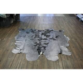 Authentic Cow Hide In Glossy Gray with Suede Backing - 5'x8'-6'x8'