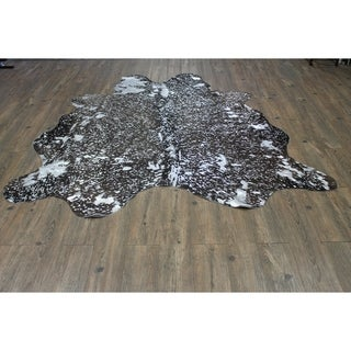 Silver on Black Color Home Indoor Leather Cowhide - 5'x8'-6'x8'