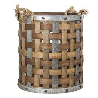 American Art Decor Rustic Wood and Metal Storage Basket Farmhouse Decor (Large)