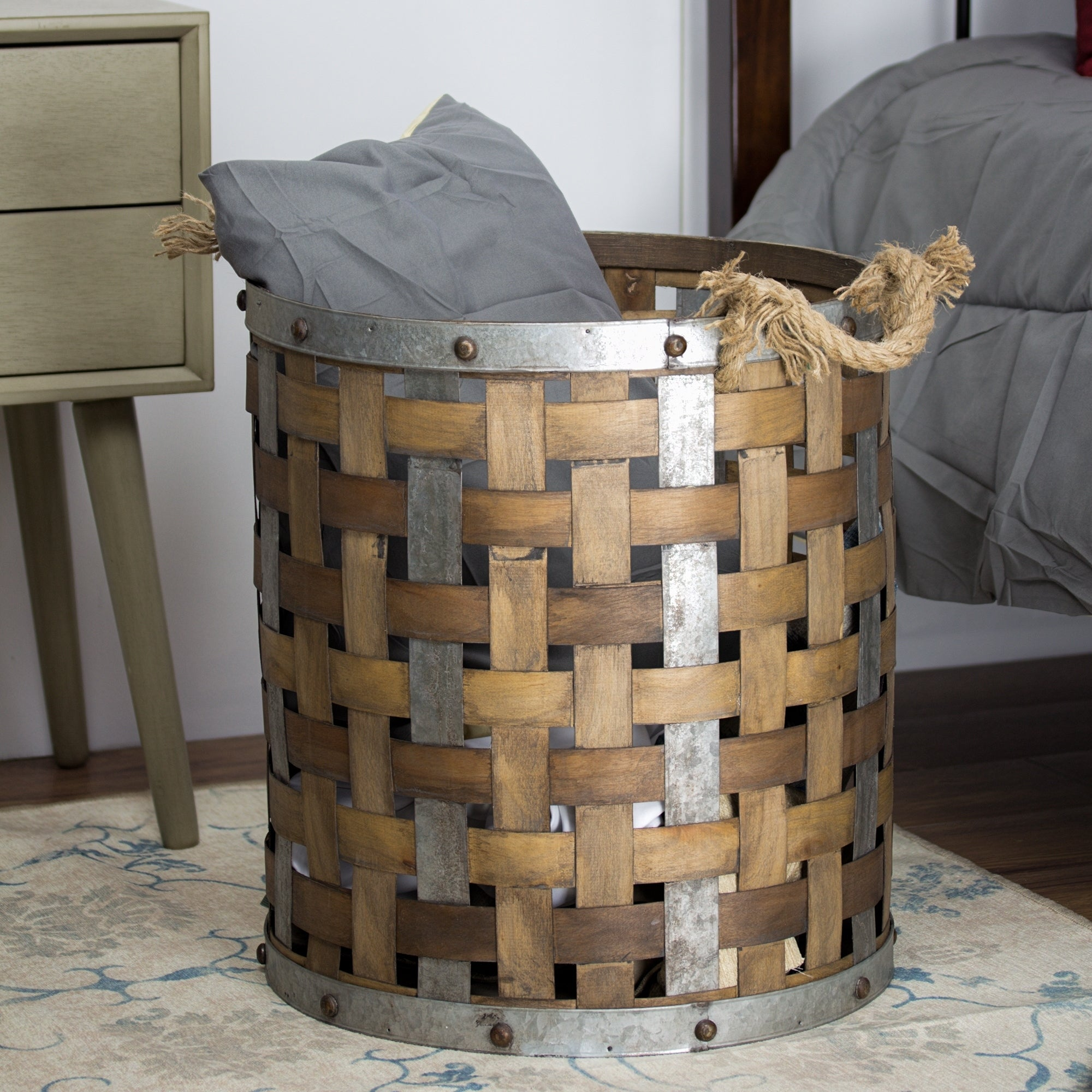 Rustic Succulent Metal Basket with Wood Handle farmhouse