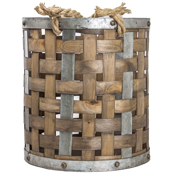 American Art Decor Rustic Wood and Metal Storage Basket Farmhouse Decor (Small)