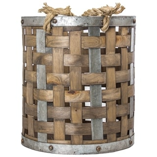 American Art Decor Wood and Metal Storage Basket Farmhouse Decor (Medium)