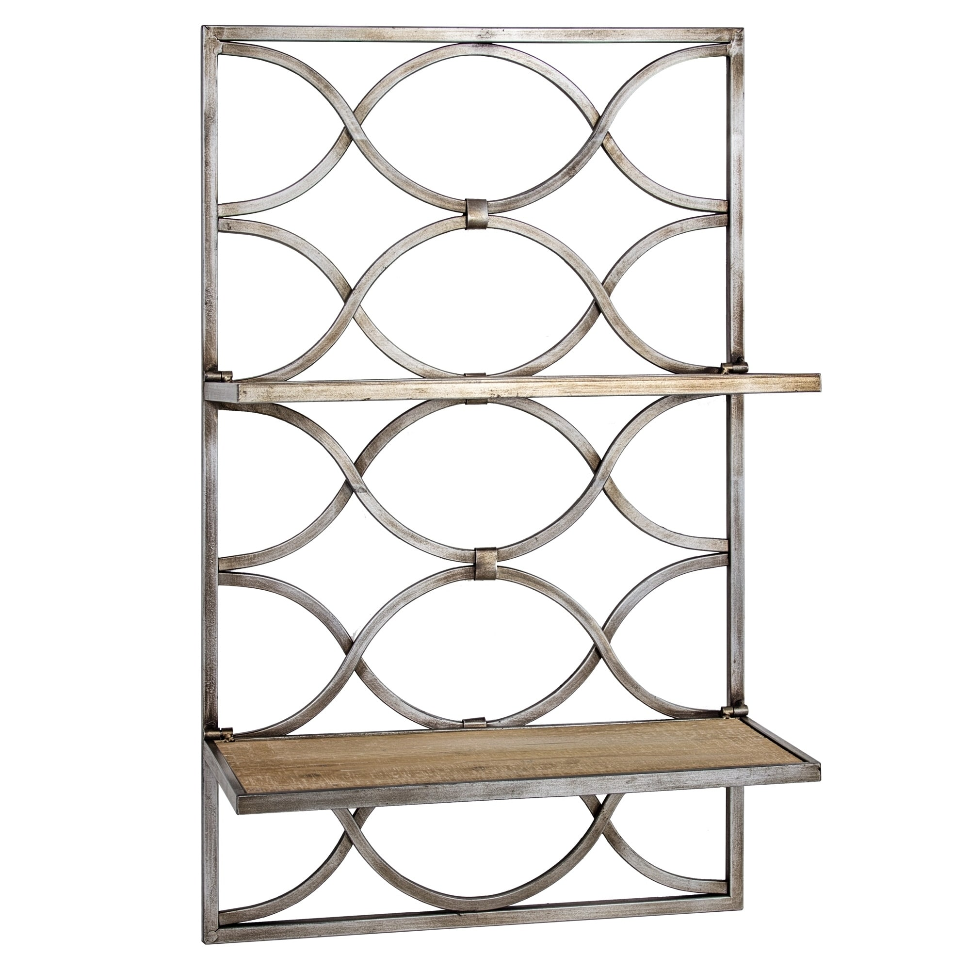 American Art Decor Wood And Metal Hanging Shelves Rack
