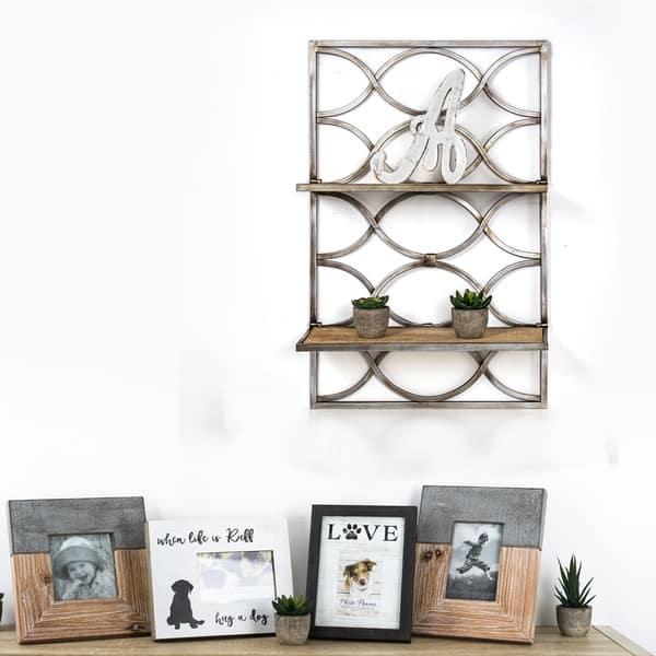 Shop American Art Decor Wood And Metal Hanging Shelves Rack