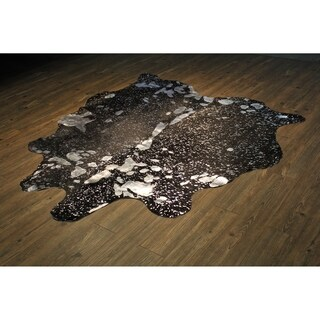 Authentic Cow Hide In Silver on Black with Suede Backing - 5'x8'-6'x8'