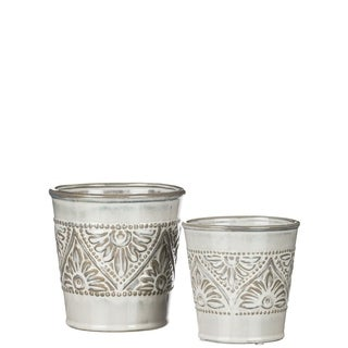 Floral Pattern Decorative Pots - Set of 2