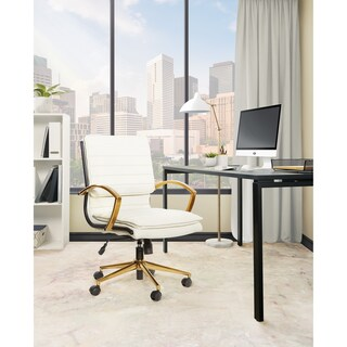 Ave Six Mid-Back Faux Leather Office Chair with Gold Finish Base