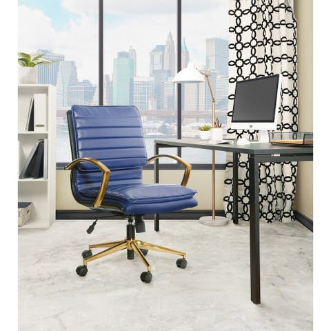 OSP Home Furnishings Mid-Back Faux Leather Office Chair with Gold Finish Base