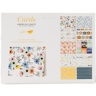 "American Crafts A2 Cards W/Envelopes (4.375""X5.75"") 40/Box"
