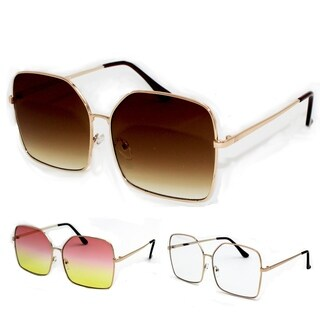 Pop Fashionwear Oversized 2 Toned Gradient Square Metal Framed Sunglasses P4157