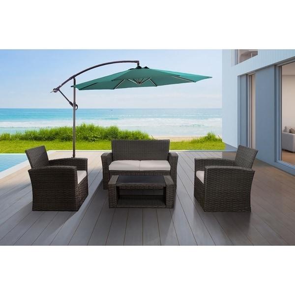 Delano 4 Piece Patio Resin Wicker Conversation Sofa Set Coffee Table