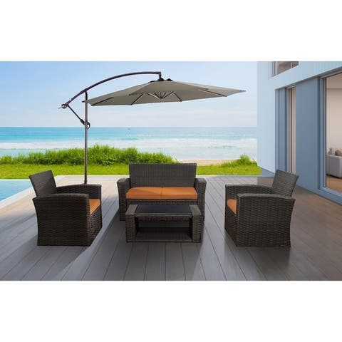 Delano 4-piece Outdoor Wicker Conversation Patio Set with Cushions