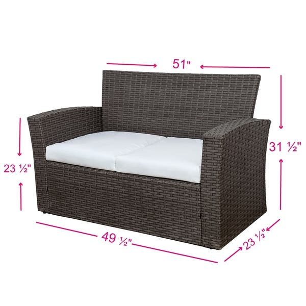 Remarkable Shop Delano 4Pc Wicker Outdoor Conversation Patio Seating Pabps2019 Chair Design Images Pabps2019Com