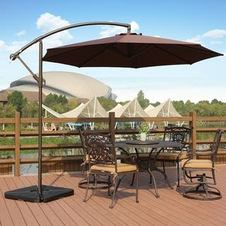 weller 10 ft offset cantilever hanging patio umbrella by westin outdoor - Patio Table With Umbrella