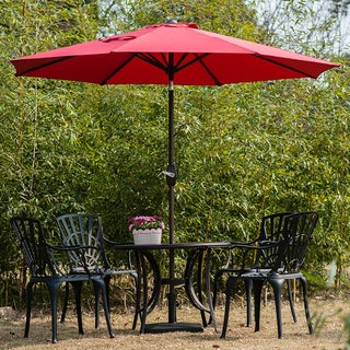 Amada 9 Ft Aluminum Patio Umbrella with Tilt & Crank by Westin Outdoor (Option: Red)