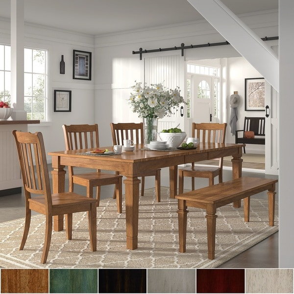 Elena Oak Extendable Rectangular Dining Set - Slat Back Chairs by iNSPIRE Q Classic