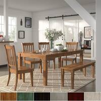 Elena Oak Extendable Rectangular Dining Set - Slat Back Chairs by iNSPIRE Q Classic