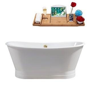 "67"" Cast Iron R5042GLD Soaking Freestanding Tub with External Drain"