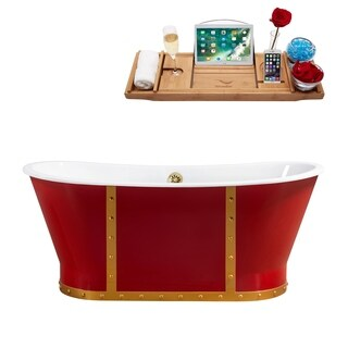 """67"""" Cast Iron R5043GLD Soaking Freestanding Tub and Tray with External Drain"""
