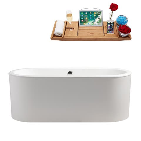 """67"""" Cast Iron R-5400-67CIFSWH-FM Soaking Freestanding Tub and Tray with Internal Drain"""
